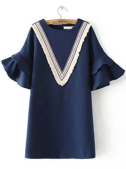Navy Bell Sleeve Tassel Straight Dress