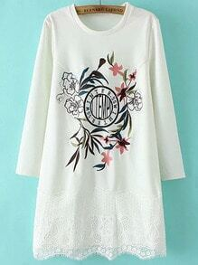 White Crew Neck Embroidered Lace Dress