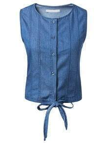 Blue Crew Neck Knotted Denim Vest