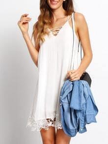 White Crochet Hem Criss Cross Spaghetti Strap Dress