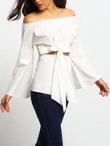 White Off Shoulder Bell Sleeve Bow Front Blouse