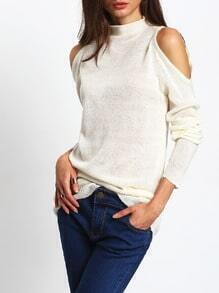 White Cold Shoulder High Neck Sweater