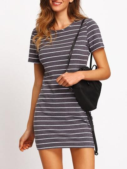Grey White Stripe Casual T-shirt Dress