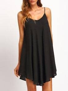 Black Asymmetrical Criss Cross Back Spaghetti Strap Sundress