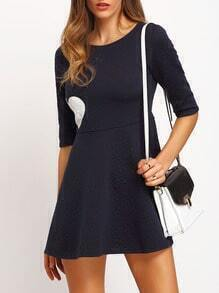 Navy Half Sleeve Heart Print Flare Dress