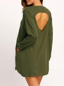 Army Green Crew Neck Asymmetrical Sweatshirt