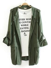 Army Green Single Breasted Pockets Coat