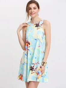 Azure Floral Print Zipper Back Swing Dress