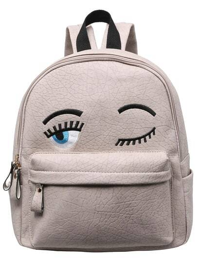 Grey Eyes Pattern PU Backpack