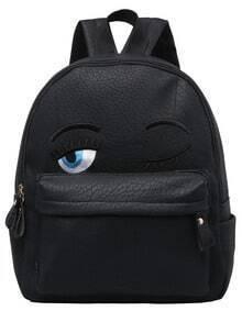 Black Eyes Pattern PU Backpack -SheIn(Sheinside)