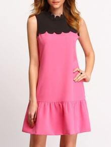 Rose Black Scallop Mock Neck Sleeveless Shift Dress