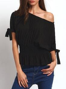 Black Open-shoulder Self-tie Cuff Elasticated Blouse