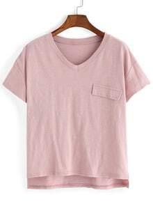 V Neck Dip Hem Pocket T-shirt