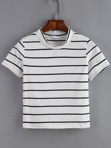Crew Neck Striped White T-shirt