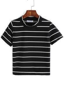 Crew Neck Striped Black T-shirt