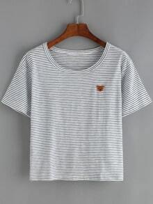 Pinstriped Bear Patch T-Shirt