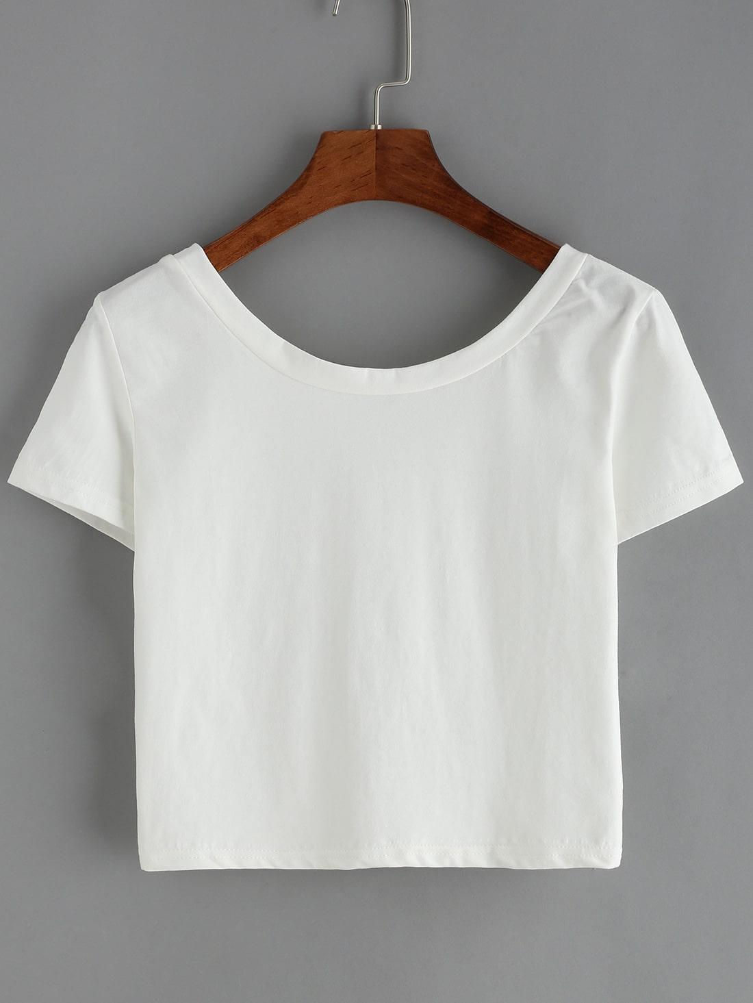 Scoop Neck Crop White T Shirt Shein Sheinside