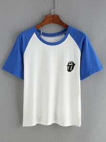 Contrast Raglan Sleeve Tongue Print T-Shirt