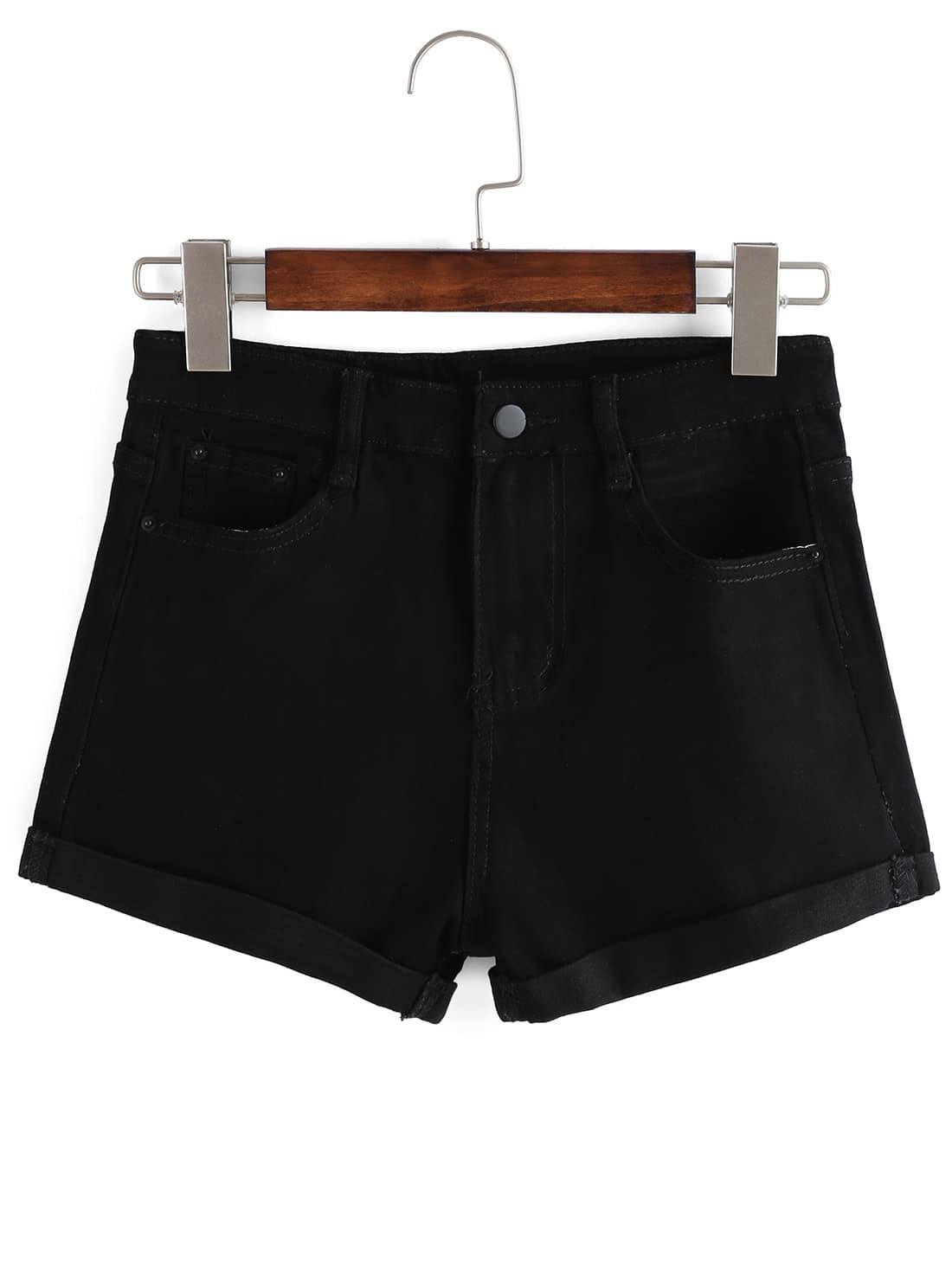 Фото #1: Cuffed Denim Shorts