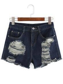 Ripped Frayed Denim Navy Shorts
