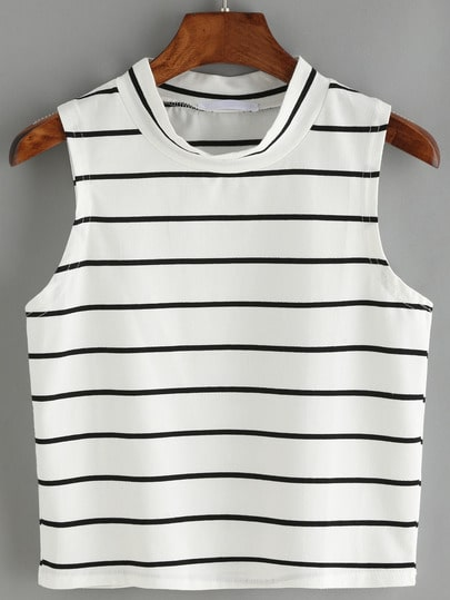Striped White Tank Top