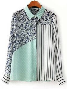 Color-block Vertical Striped Paisley Print Blouse