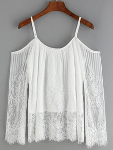 Cold Shoulder Lace White Shirt