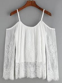 Cold Shoulder Lace White Shirt
