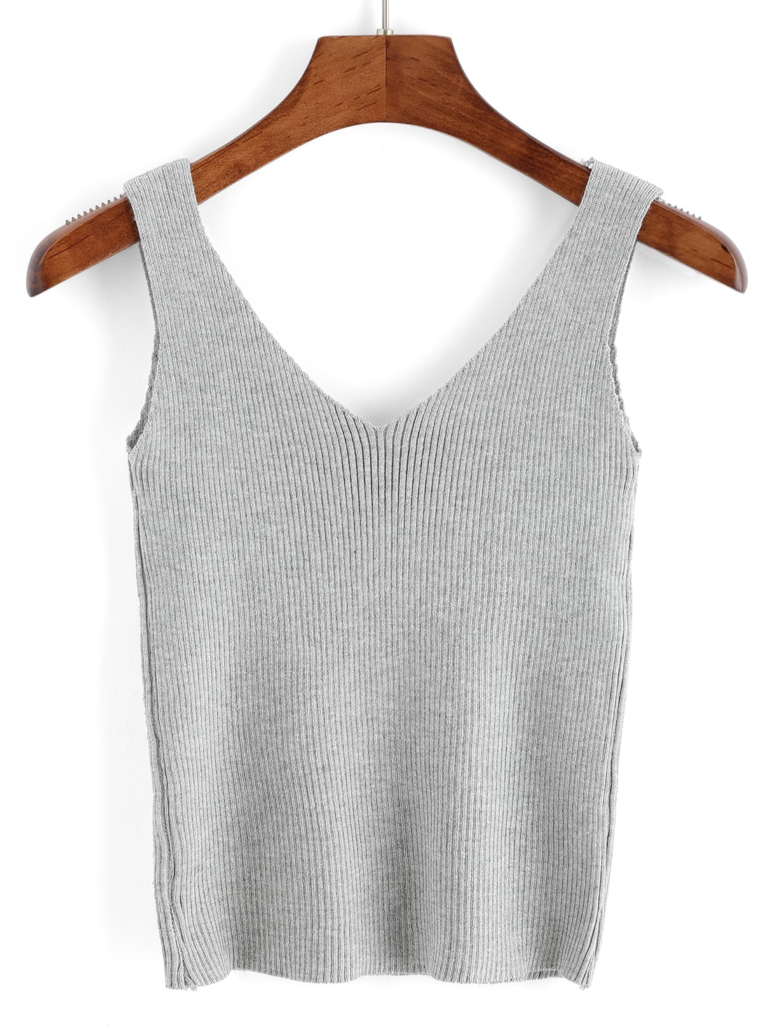 V Neck Ribbed Sweater Tank Top -SheIn(Sheinside)