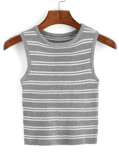 Striped Ribbed Sweater Tank Top
