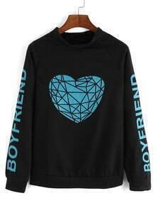 Raglan Sleeve Heart Print Black Sweatshirt