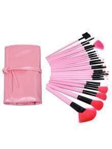 Pink 24pcs Makeup Brushs With Cosmetic Bag
