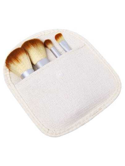 4pcs Bamboo Handle Makeup Brush Set With Bag