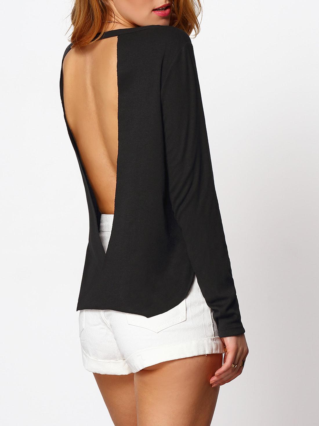 Split Side Cut Out Backless Blouse blouse160307505
