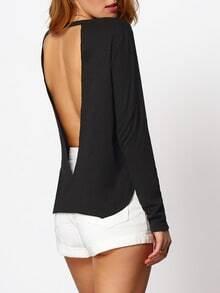Blusa con abertura sin espalda -negro