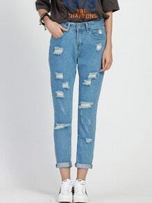 Blue Pockets Ripped Denim Loose Pant