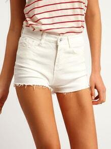 White Pockets Fringe Denim Shorts