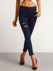 Navy Ripped Skinny Denim Pant