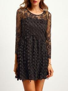 Black Sheer Mesh Scaly Lace Dress
