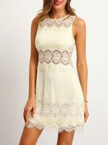 Beige Crew Neck Sleeveless Hollow Lace Dress