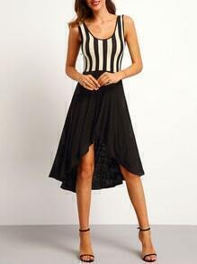 Black White Vertical Stripe High Low Dress