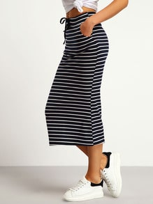 Navy Drawstring Striped Slim Skirt