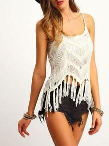 White Spaghetti Strap Hollow Tassel Cami Top