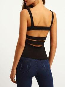 Black Strap Backless Cami Top