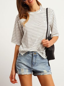White Crew Neck Striped Loose T-Shirt