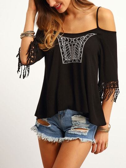 Cold Shoulder Embroidered Top With Fringe