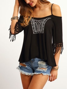 Black Cold Shoulder Embroidered Top