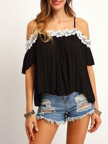 Black Cold Shoulder Lace Loose Top