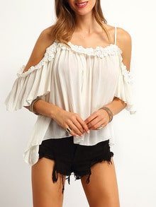 Beige Cold Shoulder Lace Loose Top