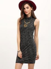 Grey High Neck Sleeveless Sheath Dress